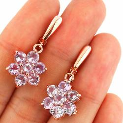 100% Natural 5mm Pink Amethyst Rare Rose Gold Solid Sterling Silver 925 Earring