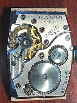 1941 Vintage HAMILTON 980 MYRON Rare Rose Gold Case, Stunning Salmon Dial-Works