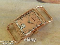 1941 Vintage HAMILTON ESSEX, Rare Rose Gold Case, Stunning Salmon Dial, Serviced