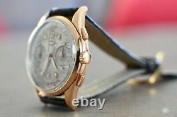 1957 Longines 6595 Cal 30CH 18K Rose Gold Flyback Chronograph 37mm RARE with Box