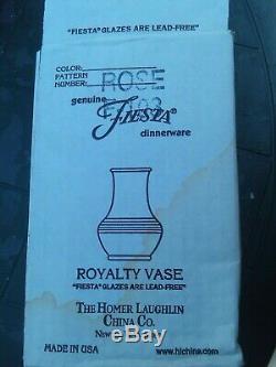 1 Rare Retired ROSE Fiesta ROYALTY Fiestaware Vase Perfect! IN BOX