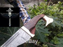 28 Dsk! Rare Hand Made Damascus Steel Hunting Kopis Sword Handle Rose Wood
