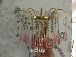 2 x Vintage Murano Chandelier & Wall Light Rose pink glass teardrops Rare SET