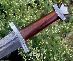32 Dsk! Rare Hand Made Damascus Steel Hunting Roman Sword Handle Rose Wood