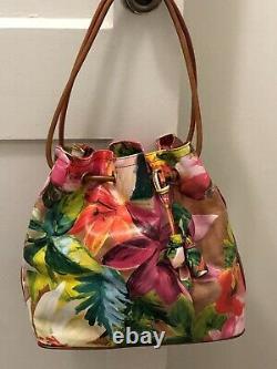 AUTH Brahmin Tropical Rose Trina Pink Floral Leather Bucket, Shoulder Bag, Rare