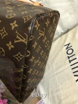 AUTH LOUIS VUITTON NEVERFULL MM MONOGRAM with ROSE BALLERINE RARE FIND! EUC