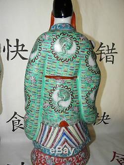 Action Rare Chinese Famille Rose Fu Lu Shou Gods Buddha Porcelain Statue Antique