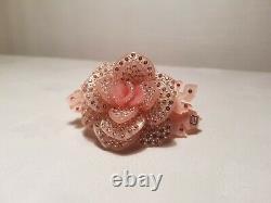 Alexandre de Paris Crystal Hair Barrette Clip Rose Flower RARE PIECE