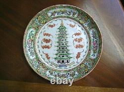 Antique 19th c. Chinese Porcelain Famille Rose Plate with Rare Temple & Bats