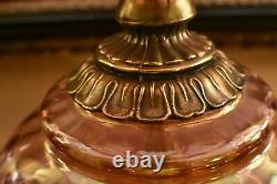 Antique Vintage Amber Rose GWTW Rare Hurricane Gone with the Wind Lamp LARGE