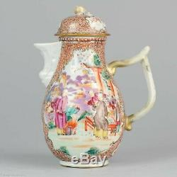 Antique ca 1770 Famille Rose Mandarin Large Jug Rare Qianlong Period
