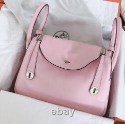 Auth HERMES Pink ROSE SAKURA LINDY 30 SWIFT Excellent X STAMP Rare below retail