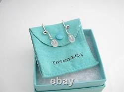 Auth Rare Tiffany & Co Silver Pink Rose Quartz Dangling Earrings Box Pouch