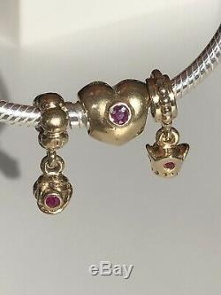 Authentic Pandora 14k Gold Ruby Rose Dangle Charm #750359RU VERY RARE