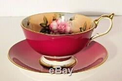 Aynsley Crimson Red 4 Pink Cabbage Roses Cup and Saucer #2961 Mint RARE