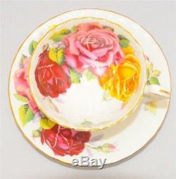 Aynsley RARE Humongous Pink Burgundy, Yellow Roses Teacup & Saucer