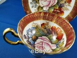 Aynsley bone china cup saucer Large Rose Rare Signed one