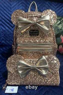 BNWT Loungefly Disney Parks Sequin Rose Gold Mini Backpack And Wallet Rare Set