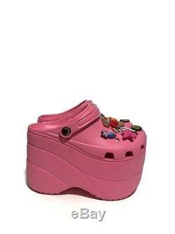 Balenciaga Womens New Pink Rubber Croc Scarpa Gomma Rose Bon Bon Size 7 Rare
