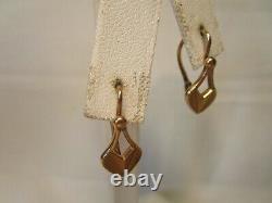 Beautiful Vintage Ussr 14k Rose Pink Gold 7/8 Hook Heart Earrings Estate Rare