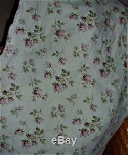 Bella Notte Linens Tess Full Queen Duvet Cover Aqua Linen Pink Roses Rare