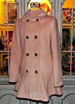 Betsey Johnson RARE Dress Coat PEPLUM Skirted Rose PINK Jacket Medium 6 8
