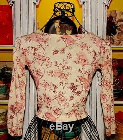 Betsey Johnson RARE Sweater SKULL Pink BIRD ROSE Floral CROP Toile CARDIGAN XS 2