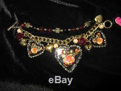 Betsey Johnson Rare Vintage Black Heart With Pink Rose Bracelet