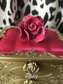 Betsey Johnson Vintage HUGE Metal Pink Rose Crystal Flower Ring VERY RARE