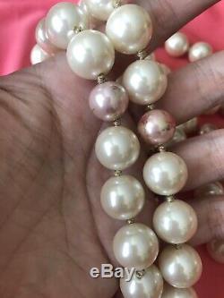 Betsey Johnson Vintage Rosebud Rose Pink Pearl Strand Layered Long Necklace RARE