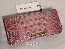 Brahmin Melbourne ADY Slim Bifold Leather Wallet Clutch TEA ROSE Pink NWT Rare