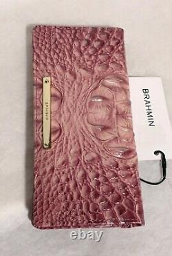 Brahmin Melbourne ADY Slim Bifold Leather Wallet Clutch TEA ROSE Pink NWT Rare