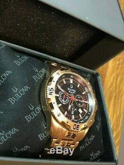 Bulova Men's 97B121 Marine Star Watch Rose Gold Stainless Steel Wristwatch Rare