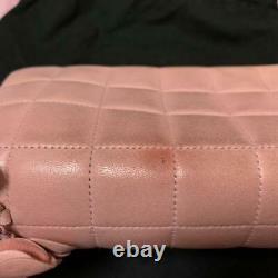 CHANEL Choco Bar CC Chain Shoulder Bag Lambskin Rose Pink Rare