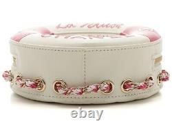 CHANEL Float Motif Chain Shoulder Bag Rose Pink White Lambskin Ex++ Rare