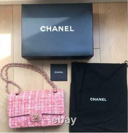 CHANEL Matelasse 25 W Flap Chain Shoulder Bag Tweed Rose Pink Multi Rare Ex++