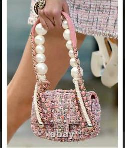 CHANEL Tweed Chain Shoulder Hand Bag Pearl Rose Pink Near Mint Rare