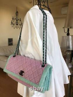 CHANEL Tweed Leather Chain Shoulder Bag Rose Pink Blue 2015 Limited Rare Ex++
