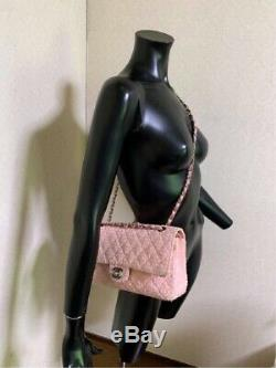 CHANEL Tweed Quilted Classic Double Flap Shoulder Bag Light Rose Pink Rare Used