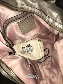 COACH RARE Limited Edition Petal Rose Ella Metallic Leather Satchel #16400