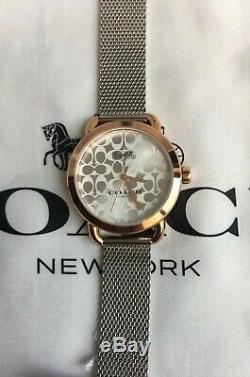 COACH Silver Rose LEXINGTON 2-Tone MESH Bracelet WATCH $250 RARE 14502657 W6182