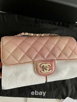 Chanel 21S Iridescent Metallic Rose Gold Mini Rectangle Flap Bag LGHW RARE EUC
