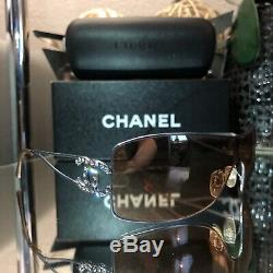 Chanel Sunglasses Swarovski Crystal 4072-B Rose CC Logo RARE
