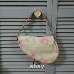 Christian Dior Cotton Leather Saddle Shoulder Bag Rose White Flower Rare Used