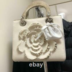 Christian Dior Hand Bag Rose Flower Rare Authentic Leather Collectible F/s