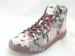 Coach C204 Women's High Top Fashion Shoes Floral Grey / Pink US 7.5 EU 38 Rare