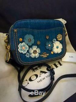 Coach Denim Camera Bag Tea Rose Motif Japan Limited Unused Calf Leather Rare F/s