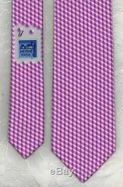 Cool New Tag Hermes Tie Heavy Silk Twill Purple/Rose La Piscine Rare Mint