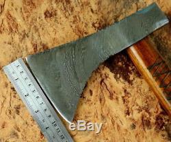 Custom Handmade Damascus Steel Rare Viking Axe Tomahawk Rose Wood With Sheath