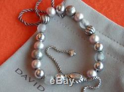 David Yurman RARE SSilver Elements Beads Bracelet White Pearl Rose Quartz Adj